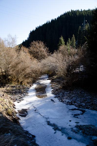 La rivière, muette comme une carpe, reste de glace à notre passage