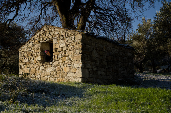 Nuit magique dans une bergerie de six mètres carrés avec réveil au soleil sur tapis vert et blanc