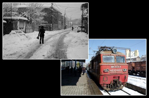 Quarante centimètres de neige fraiche dans les rues de Kutaisi, pas d'autre choix que prendre le train…