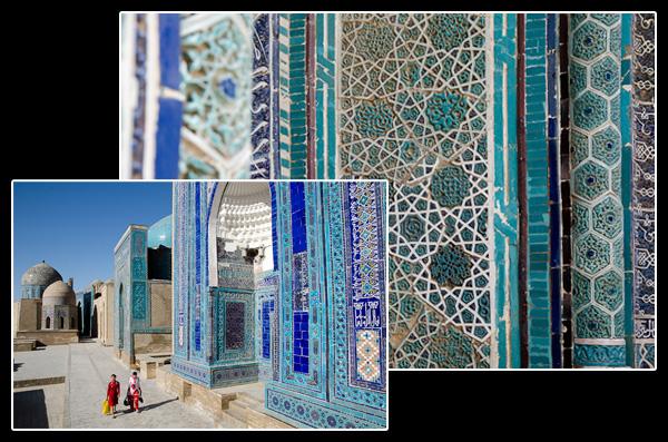 """Chah-i-Zinde, l'extraordinaire """"boulevard"""" de mausolées renferme de somptueuses mosaïques et céramiques en relief"""