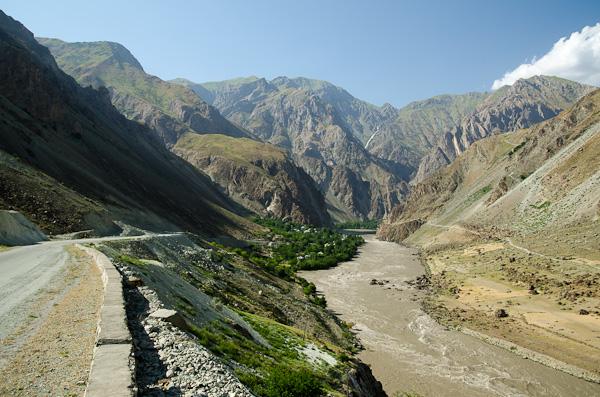 Une rivière, deux pays. A gauche la route tadjike. A droite le sentier afghan