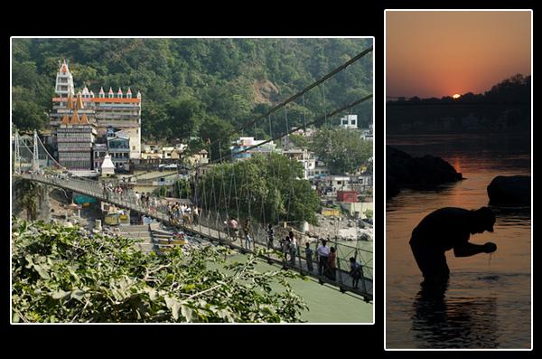 Le pont Lakshman Jhula enjambe les eaux sacrées du Gange à Rishikesh