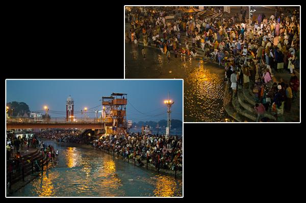 Sur les rives du Gange à Haridwar. Et tous les soirs c'est la même cohue!