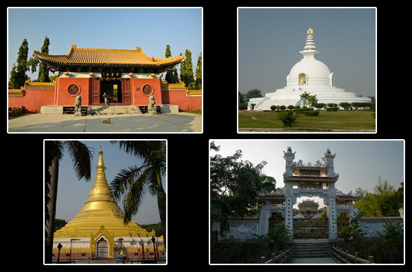 La pagode de la Paix (Japon), le temple d'or (Birmanie) et les monastères chinois et vietnamien