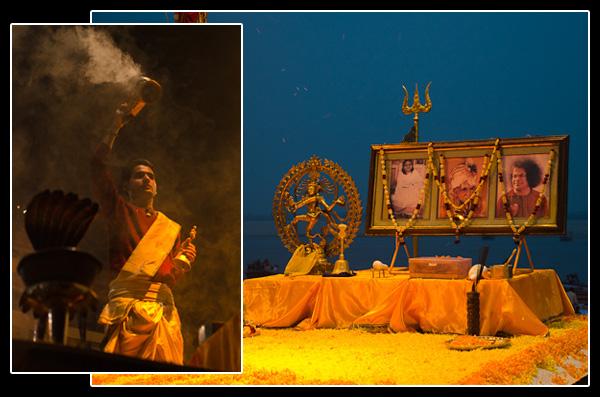 Ganga aarti, cérémonie du soir avec offrandes et prières
