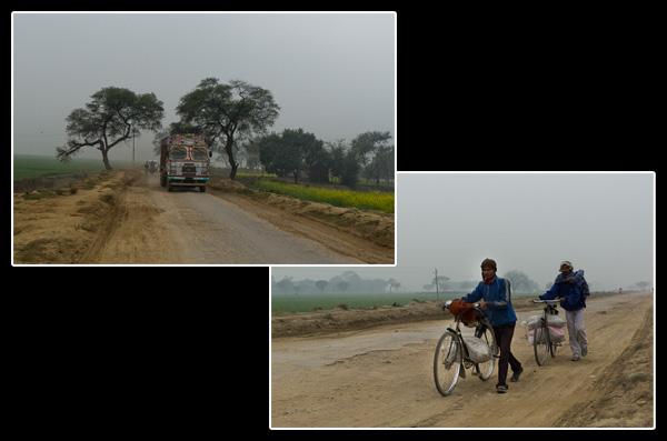 Poids lourds et cyclistes sur les routes du Bihar