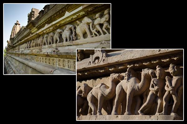 Tout le monde se presse à Khajurâho: éléphants, chameaux et touristes des quatre coins de la planète