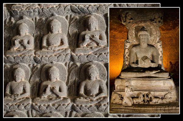 Statues dans une grotte bouddhiste d'Ajanta