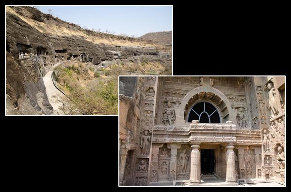 Le site d'Ajanta: une trentaine de grottes creusées dans une falaise en fer à cheval