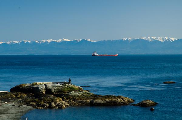 Les Etats-Unis (péninsule d'Olympia, Oregon) vus depuis le Canada (Victoria, Colombie-Britannique)