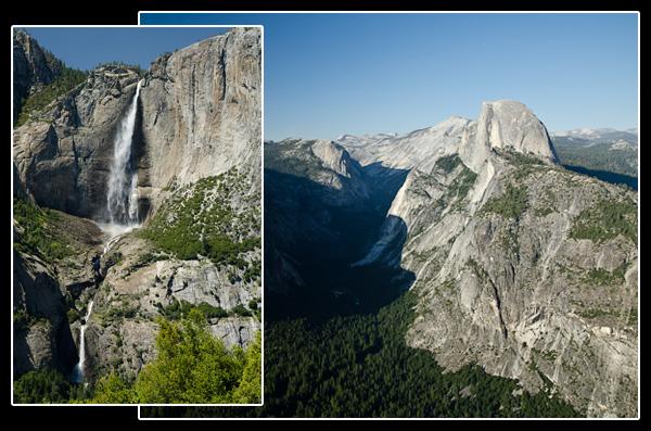 Vue sur les Yosemite Falls et sur Half Dome. Enorme!