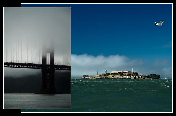 Alors que les piliers du Golden Gate Bridge disparaissent dans la brume, Alcatraz resplendit au soleil