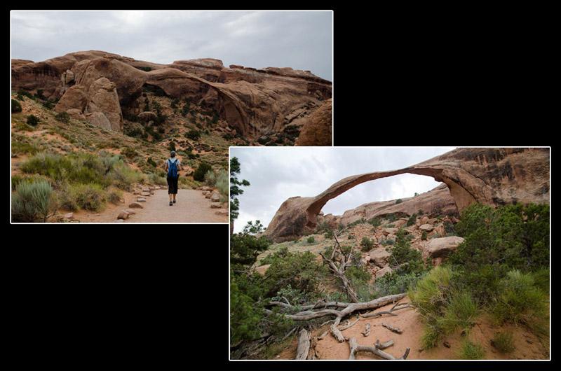 La Landscape Arch: on a failli pas la voir tant une structure pareille semble impossible (89m de long pour 32m de haut et… une largeur minimale de 1,8m)