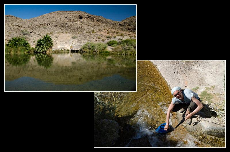 … et l'eau! Beaucoup d'eau. Cette source est chaude et a un goût épouvantable. Pourtant, elle nous a sauvé la mise