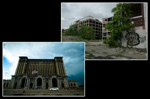 Symboles de Détroit: une gare ferroviaire jamais terminée et une usine automobile laissée en friche…