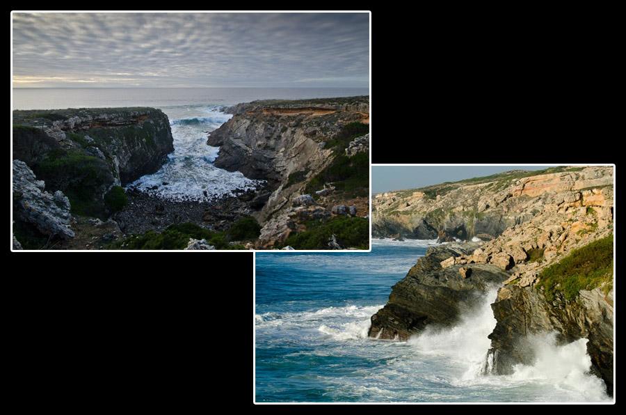 La force de l'océan Atlantique vient s'écraser sur les falaises de l'Alentejo