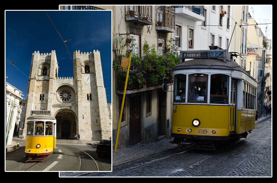 Dans les rues de Lisbonne, les trams se faufilent entre les bâtiments historiques