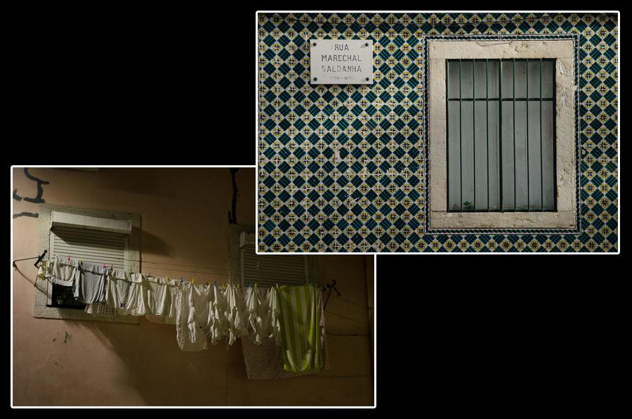 Murs de Lisbonne: entre lessive et azulejos