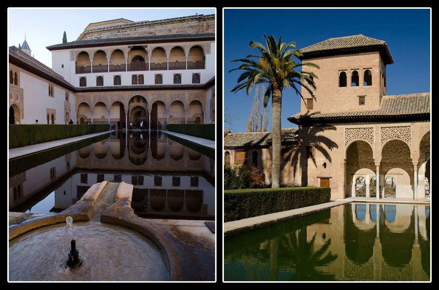 Jardin et palais à l'intérieur de l'Alhambra. Sublime harmonie!