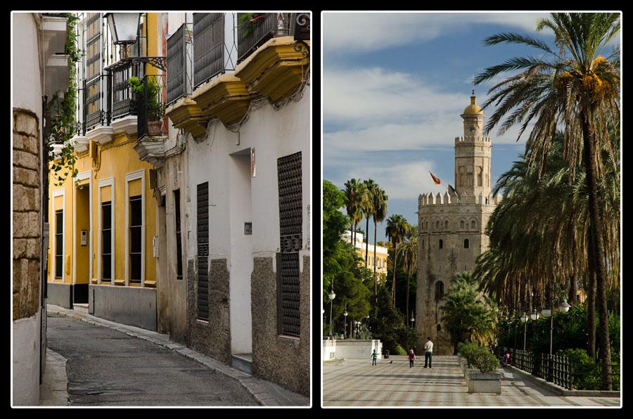 Ruelle au centre-ville de Séville et la Torre del Oro, sur les rives du Guadalquivir