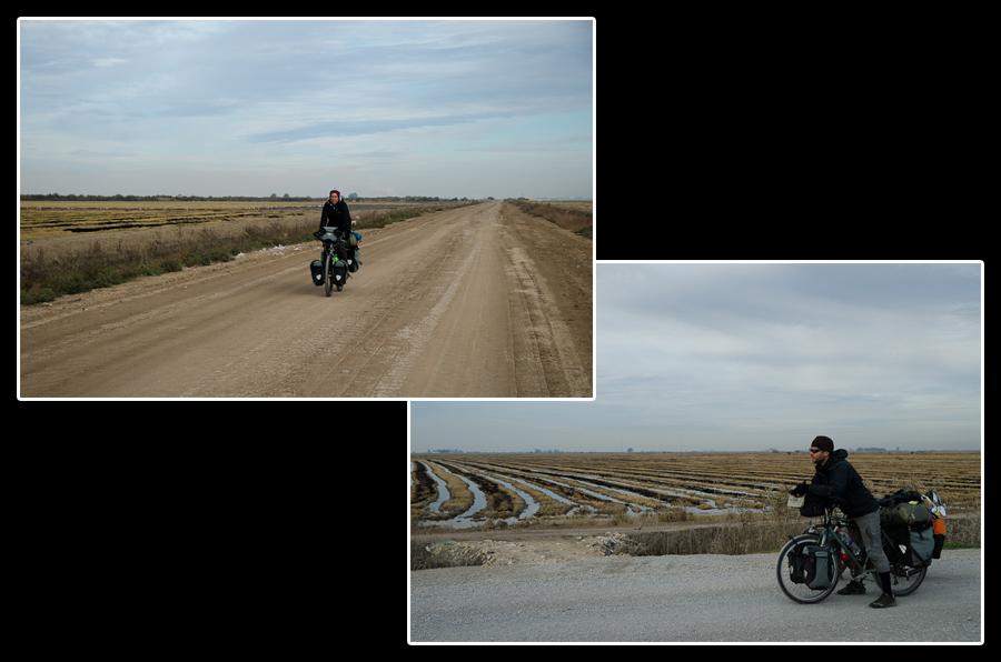 Route de campagne dans la plaine du Guadalquivir entre Séville et El Puerto de Santa María