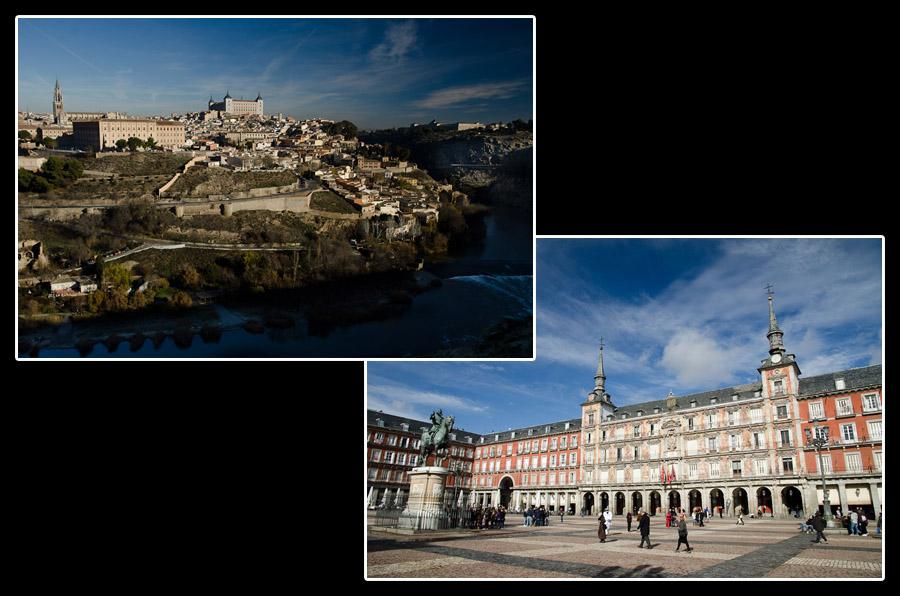 Toledo, l'ancienne capitale de l'Espagne, et Madrid, la capitale actuelle